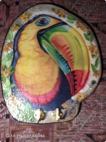 Хочу поделиться своей первой ключницей, со всеми! Вот такая она тропическая, яркая и разноцветная! фото 4
