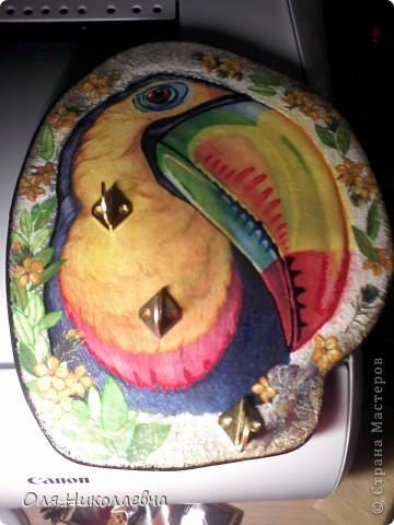 Хочу поделиться своей первой ключницей, со всеми! Вот такая она тропическая, яркая и разноцветная! фото 5