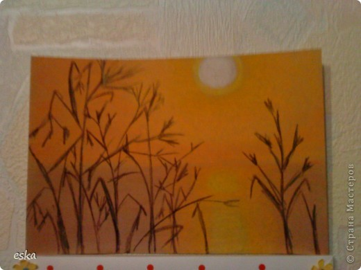 Рисовала закат на реке  пастелью. фото 1