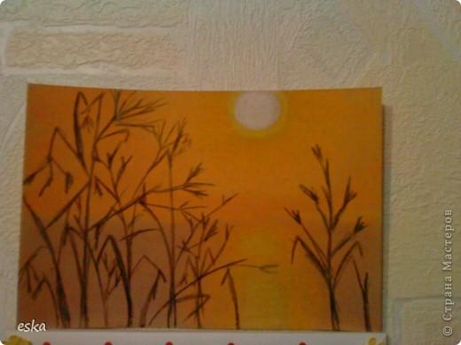Рисовала закат на реке  пастелью. фото 2