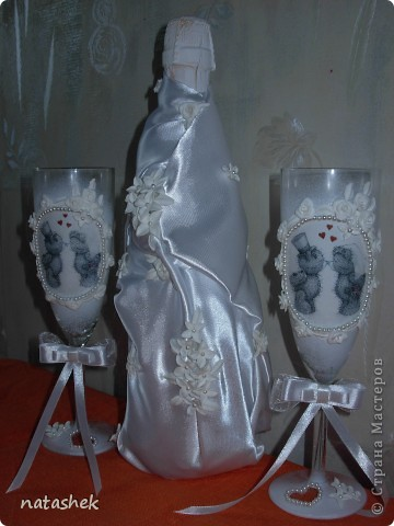 """Свадебный набор """"Мишки Тедди""""  на подушечке мишки расписываются :)на фужерах целуются :) все по теме   ИЗВИНИТЕ за качество фото т.к. фотки делали на скорую руку  фото 4"""