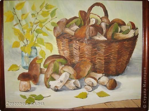 Эти натюрморты были нарисованы в прошлые годы, когда был большой урожай белых грибов. Масло. Первую картину надо было срочно нарисовать (вдохновение пришло, а грибы очень быстро пропадают),  под рукой была только фанера. Пришлось рисовать на ней. На фотографиях крупным планом, к сожалению, видна фактура фанеры. Знаю, некрасиво. Но, картина висит дома, поэтому так и осталась на этом материале. фото 11