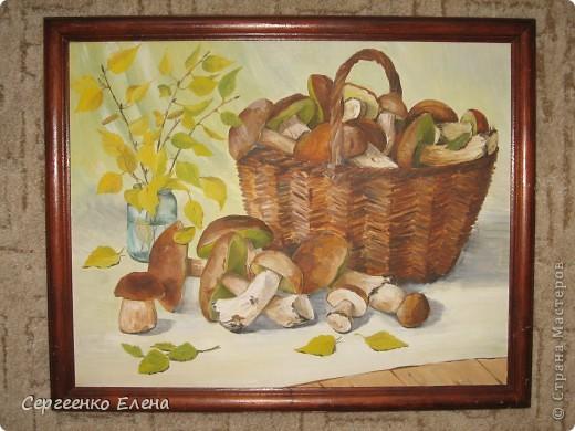 Эти натюрморты были нарисованы в прошлые годы, когда был большой урожай белых грибов. Масло. Первую картину надо было срочно нарисовать (вдохновение пришло, а грибы очень быстро пропадают),  под рукой была только фанера. Пришлось рисовать на ней. На фотографиях крупным планом, к сожалению, видна фактура фанеры. Знаю, некрасиво. Но, картина висит дома, поэтому так и осталась на этом материале. фото 6