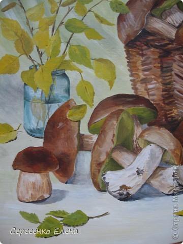 Эти натюрморты были нарисованы в прошлые годы, когда был большой урожай белых грибов. Масло. Первую картину надо было срочно нарисовать (вдохновение пришло, а грибы очень быстро пропадают),  под рукой была только фанера. Пришлось рисовать на ней. На фотографиях крупным планом, к сожалению, видна фактура фанеры. Знаю, некрасиво. Но, картина висит дома, поэтому так и осталась на этом материале. фото 7