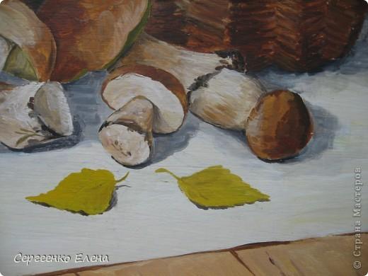 Эти натюрморты были нарисованы в прошлые годы, когда был большой урожай белых грибов. Масло. Первую картину надо было срочно нарисовать (вдохновение пришло, а грибы очень быстро пропадают),  под рукой была только фанера. Пришлось рисовать на ней. На фотографиях крупным планом, к сожалению, видна фактура фанеры. Знаю, некрасиво. Но, картина висит дома, поэтому так и осталась на этом материале. фото 8