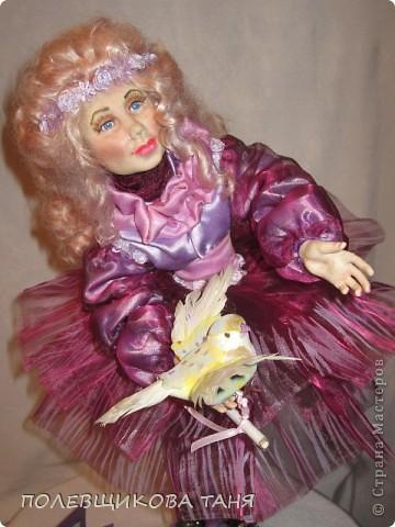 """моя первая кукла из запекаемого пластика:""""мечты цвета незабудки"""". фото 4"""