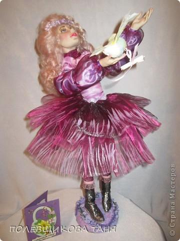 """моя первая кукла из запекаемого пластика:""""мечты цвета незабудки"""". фото 1"""