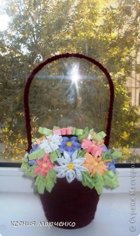 эту корзинку я купила вместе с живым цветком, цветок из нее вырос и я решила использовать ее в квиллинге
