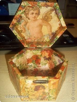 Старший сын попросил сделать для своей девушки шкатулочку с ангелочками вот что у меня получилось. фото 1