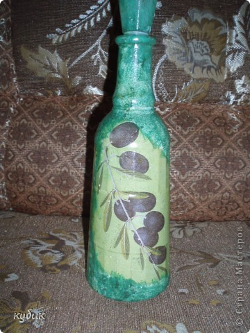 вот такую бутылочку я сотворила, затонировала, а потом наклеила салфетку фото 1