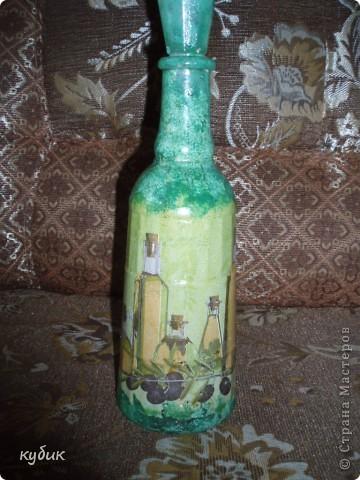 вот такую бутылочку я сотворила, затонировала, а потом наклеила салфетку фото 3