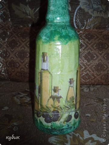 вот такую бутылочку я сотворила, затонировала, а потом наклеила салфетку фото 2