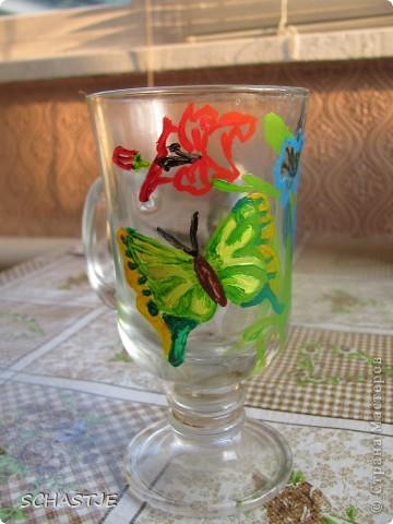 Моя первая попытка росписи стакана-чашки=)) Спасибо, что заглянули ко мне фото 1