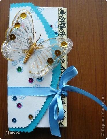 Вот такая бело-голубая открыточка получилась  на день рождение племянницы. фото 1