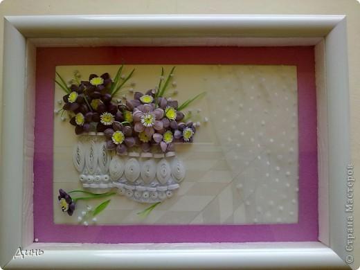 Здравствуйте, милые мастерицы! Это первая моя работа с плотными цветами. Задумывала одну картину, получилось совсем другое...   Сбоку - это шторка (или подобие шторки) :))) Снизу - что-то типа плитки.  фото 3