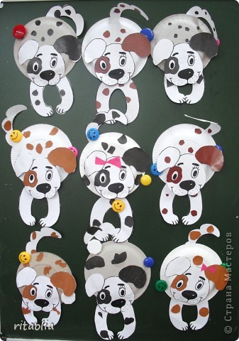 Собачки, Ослики из одноразовых тарелок (ШАБЛОНЫ) фото 1