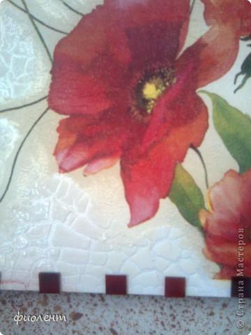 Сделала это панно давным давно,не могла ничего придумать с обрамлением,а сегодня прикупила мозаику подходящего цвета,пока только разложила,вроде ничего,как вы думаете,девочи,очень бы хотелось узнать мнение мастеориц.Материалы:основа-оргалит,белый с одной стороны,фон-краска акриловая жемчужная,салфетка,фацетный лак,слева остатками очень загустевшей краски из предыдущей баночки почпокала кисточкой и получила рельеф.Вроде все.Кто знает чем клеить стекляную мозаику? фото 2
