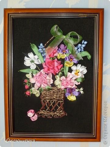 """,,Цветы для любимой мамы"""".Вышивка лентами. фото 1"""