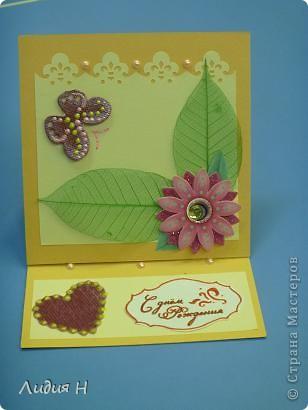 """Вот такой подарочек для подруги. Мыло""""Георгин"""" и стоячая открытка. фото 2"""