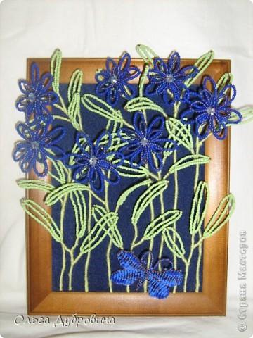 Знакомьтесь, это голубой цветок. Фон - двойной (шифон и плотная ткань такого же цвета). фото 3