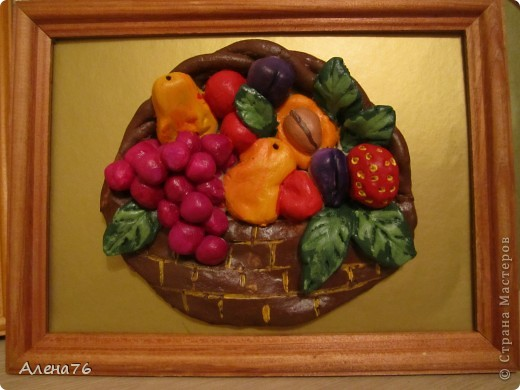 Корзинка с фруктами. Мастерила дочка ( 12 лет)