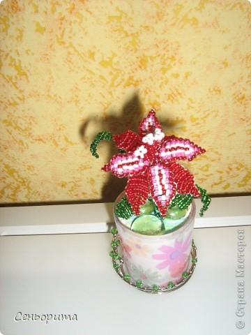 Фиалка из бисера для мамы. фото 6