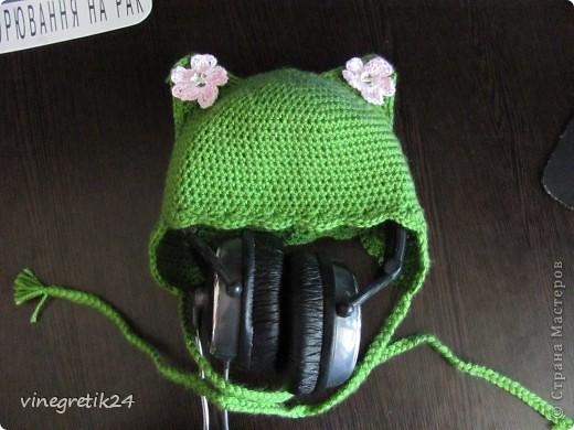 Увидела в интернете такую шапочку,захотелось связать и себе такую. Схемы не было - вязала просто полустолбиком с накидом. Цветы по мастер классу Голубки, спасибо ей. Мы еще не знали кто у нас будет поэтому выбрала зеленый цвет.  фото 1
