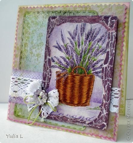 Сегодня я к вам с комплектом в духе французского Прованса.  Прованс – это уютный, чуть наивный стиль в духе французской деревни с цветом лаванды, домашних сливок, ярко-голубого неба, зеленых лугов и ласкового солнца. Началось все с открытки, с которой хочу поучаствовать в задании от блога IDEA-SIB http://idea-sib.blogspot.com/2011/09/22.html  В открытке присутствует кружево, поэтому попытаю счастья в экспресс-задании от Хомячок Challenge http://homyachok-scrap-challenge.blogspot.com/2011/09/blog-post_23.html Дальше - больше, захотелось продолжить, уж очень нравится мне эта цветовая гамма и стиль французского кантри, поэтому получилось лавандово-кружевное трио. фото 2