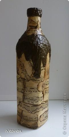 Бутылка с нотами. Декупаж. фото 2