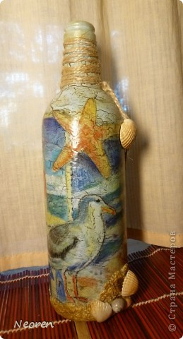 Декупаж бутылки. Морская тема. фото 1