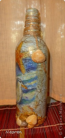 Декупаж бутылки. Морская тема. фото 2