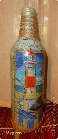 Декупаж бутылки. Морская тема. фото 3