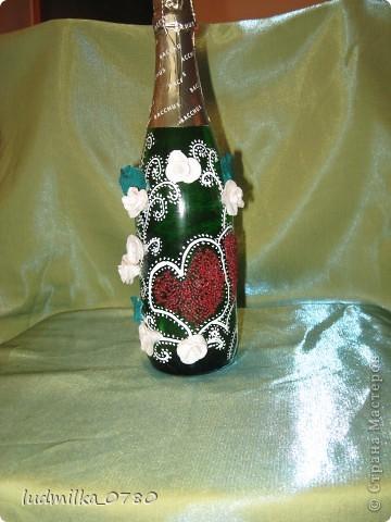 моя первая бутылочка украшенная цветами из холодного фарфора фото 1