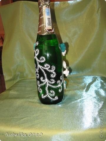 моя первая бутылочка украшенная цветами из холодного фарфора фото 2