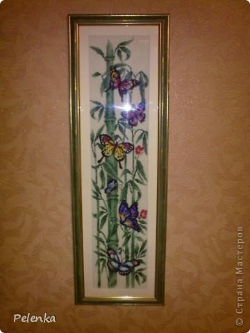 """Вышитая картина """"Бабочки и бамбук"""""""