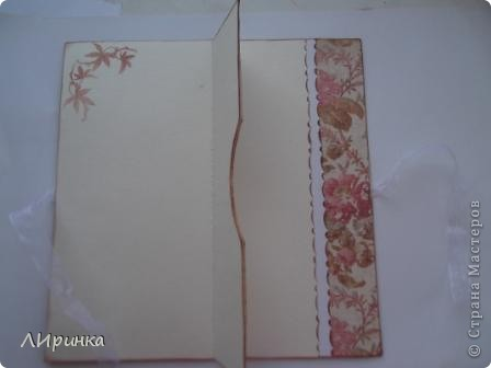 Получила первый заказ - конверт для денег. Сделала два на выбор. Выбрали этот. Делала его по МК - http://anitas-hobbyblogg.blogspot.com/2009/05/2-konfirmasjonskort-og-tutorial.html. фото 2