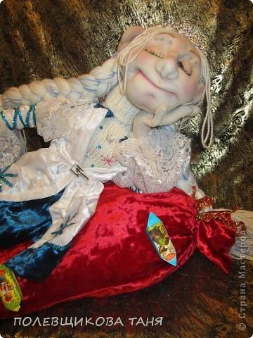 """Авторская кукла """"СНЕГУРОЧКА-1 ЯНВАРЯ 6 ЧАСОВ УТРА""""(Скульптурный текстиль) фото 6"""