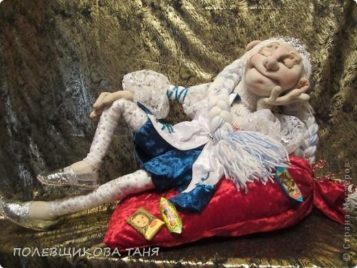 """Авторская кукла """"СНЕГУРОЧКА-1 ЯНВАРЯ 6 ЧАСОВ УТРА""""(Скульптурный текстиль) фото 1"""