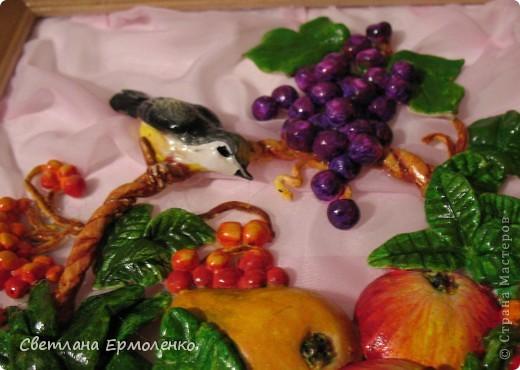 Вот такая корзинка с фруктами, рябиной и ананасом вылепилась у меня. фото 5