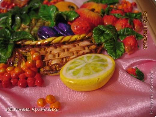 Вот такая корзинка с фруктами, рябиной и ананасом вылепилась у меня. фото 3
