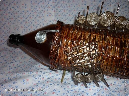 Давно хотела сплести СВОЮ рыбеху . Идею взяла здесь http://stranamasterov.ru/node/229256 но не смогла пластиковую бутылку назад вытащить . Так и ,,красуется,, с бутылкой внутри . фото 3