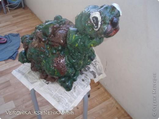 Вот оно мое произведение из коробки пластиковой от торта и строительной пены. фото 1