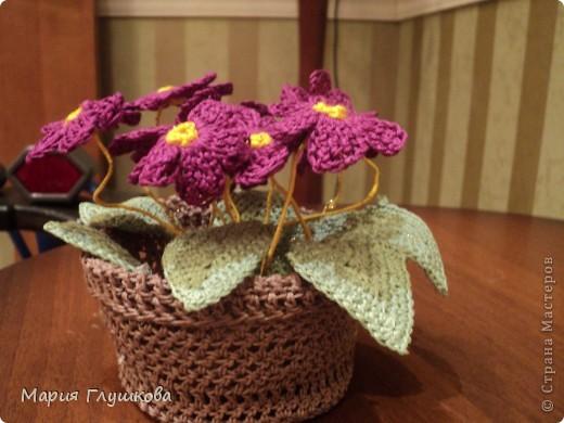 Здравствуйте, мастерицы! Представляю на ваш суд мою очередную работу - вязаные цветы. Это подарок для моей бабушки в честь 55-летия. Она очень любит цветы. Пусть они и не живые , но в каждую петельку вложена частичка моего тепла и я думаю бабушке будет очень приятно.  фото 2