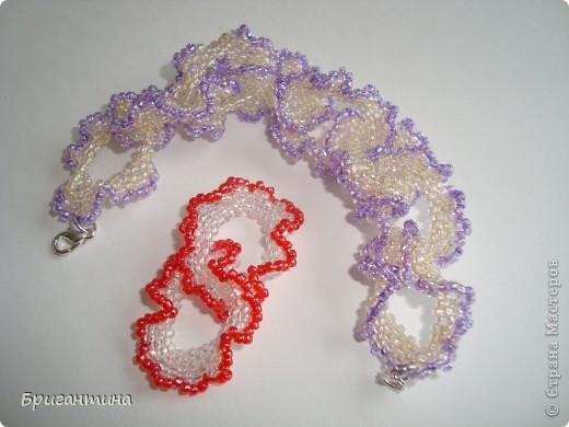 Для браслета использовала сиреневый и бледно-желтый бисер с хрустальным блеском (япония) № 10, нитки суперпрочные светло-розовые. фото 21
