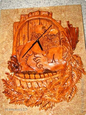 Часы панно для бани фото 1