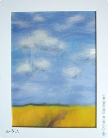 Эта картина может служить интересным подарком, при этом на создание требуется немного времени и средств. Сюжет - бескрайнее русское пшеничное поле и летнее небо над ним.  Размер работы 18х24 см. фото 11