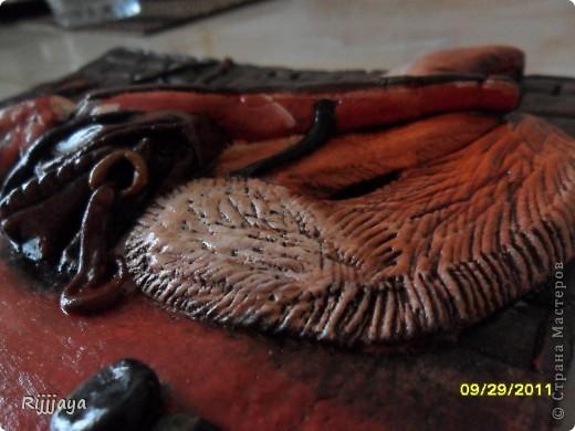 Как я уже раньше писала, мой муж любитель охоты и рыбалки =)  так как, мое предыдущее панно было посвящено рыбалке, я решила слепить что то на тему охоты. Не судите строго =)))))  Знаю про массу недостатков в этой работе, но обещаю исправится =)))))  Всех обнимаю!!!  фото 5