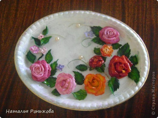 Настенное панно с букетом роз из холодного фарфора! фото 5
