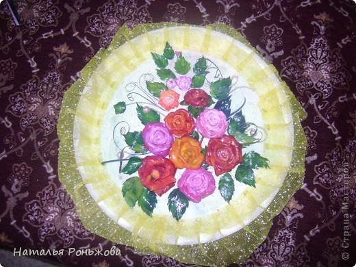 Настенное панно с букетом роз из холодного фарфора! фото 1