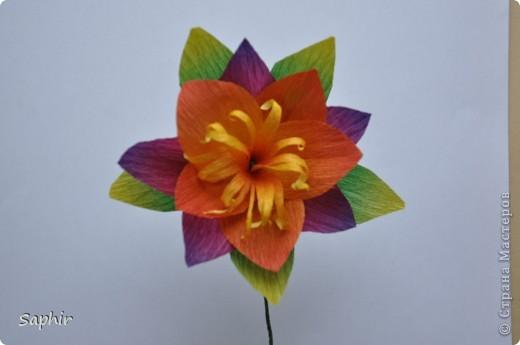 Сегодня сделались вот такие цветочки. Всё началось с того, что у меня появилась гофробумага, да не простая, а радужной расцветки.  фото 12